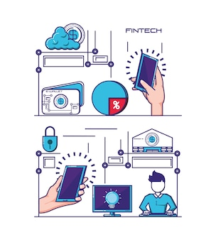 Finansowej technologii ustalonych ikon wektorowy ilustracyjny projekt