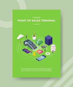 Finansowy punkt sprzedaży terminali osób stojących wokół serwera smartfonów nfc cardbank pieniądze na szablon ulotki banerowej