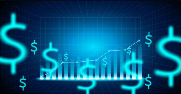 Finansowy rynek papierów wartościowych .dollar podpisuje na błękitnym tle.