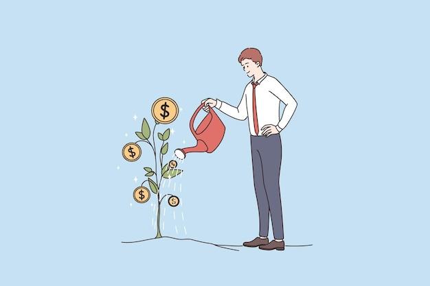 Finansowy Sukces Bogactwo Koncepcja Zysku Premium Wektorów