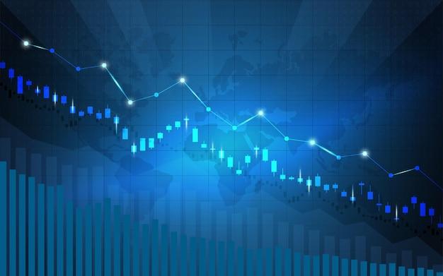Finansowy Wykres Giełdowy Na Giełdzie Inwestycyjnej, Punkt Zwyżkowy, Punkt Niedźwiedzi. Trend Wykresu Dla Pomysłu Na Biznes I Całego Projektu Artystycznego. Ilustracji Wektorowych. Premium Wektorów