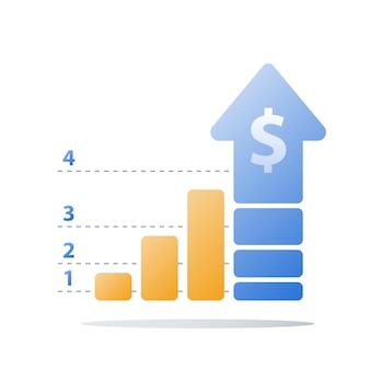 Finansowy wykres rosnący, ilustracja wzrostu przychodów