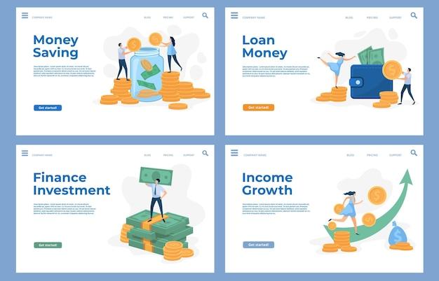 Finansuj strony docelowe z płaskimi znakami i gotówką. oszczędności, inwestycje biznesowe, pożyczki i wzrost dochodów wektor zestaw szablonów stron internetowych. bogaci ludzie posiadający banknoty i monety