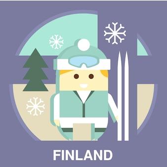 Finn z ilustracją narciarską