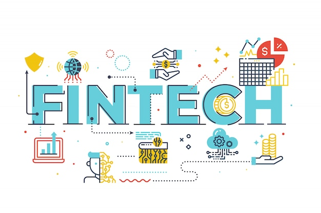 Fintech (financial technology) ilustracja napis słowo