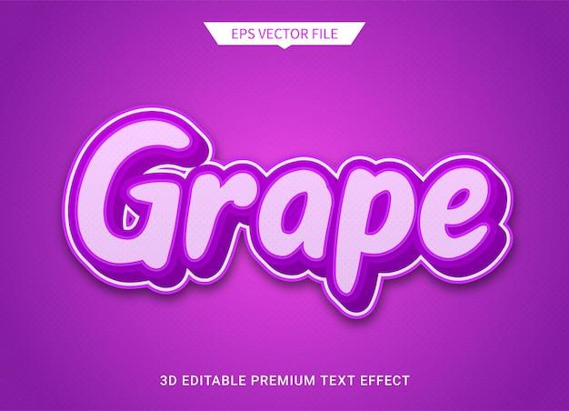 Fiolet winogronowy 3d edytowalny efekt stylu tekstu wektor premium