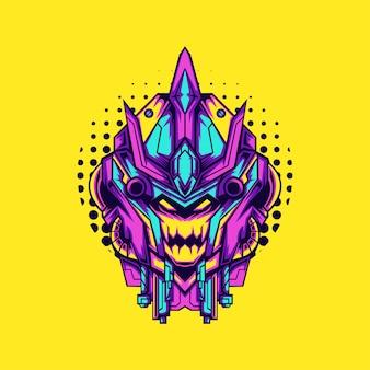Fioletowa czaszka cyborga