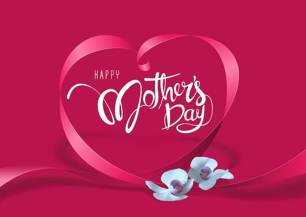 Fioletowa kartka z życzeniami happy mother day z sercem ze wstążki