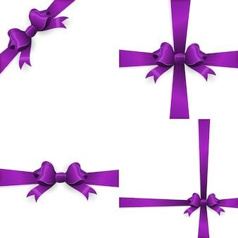 Fioletowa kokardka i fioletowa wstążka, prezent.