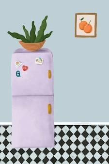 Fioletowa lodówka w niebieskim stylu szkicu kuchni