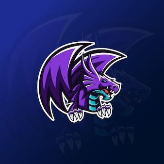 Fioletowa maskotka smoka do logo gier esportowych
