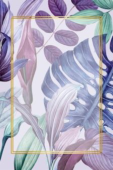 Fioletowa ramka z liściastego prostokąta