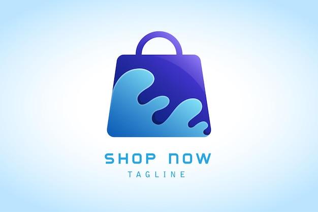 Fioletowa torba na zakupy z niebieskim logo gradientowym pluskiem wody firmy