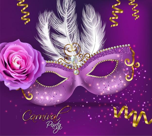 Fioletowa zdobiona karta z maską