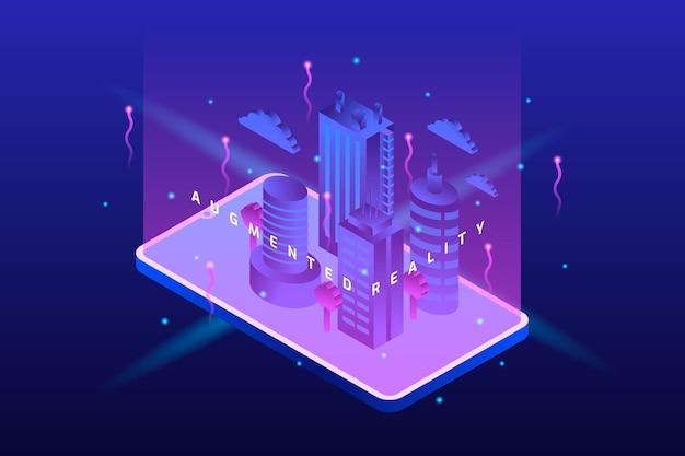 Fioletowe cyber miasto w rzeczywistości rozszerzonej