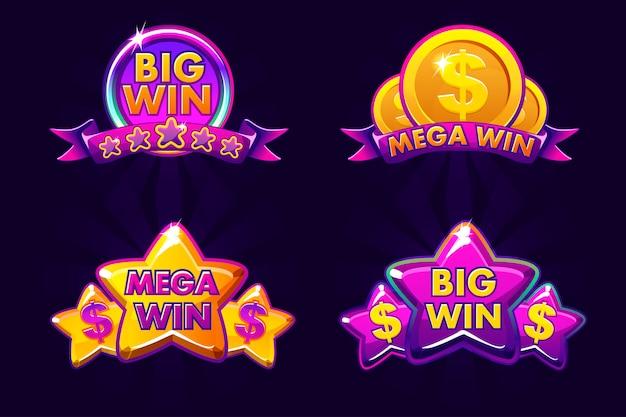 Fioletowe cztery ikony hazardu dla loterii lub kasyna, duża i mega wygrana, ikona na białym tle