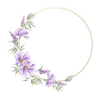 Fioletowe dzikie wiosenne kwiaty i liście ramki