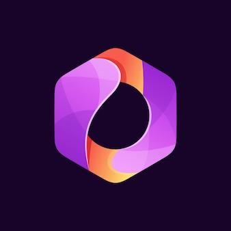 Fioletowe i pomarańczowe logo sześciokąta