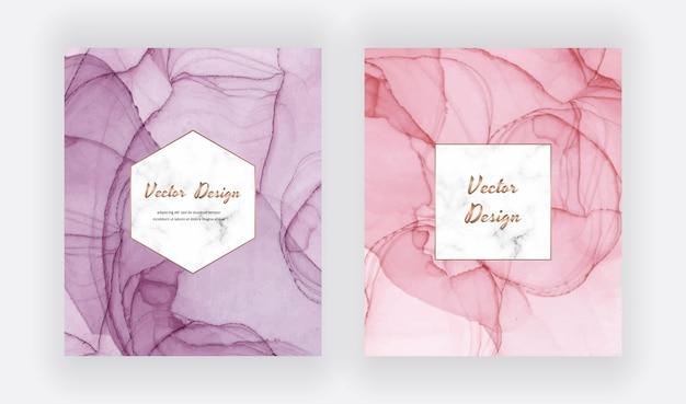 Fioletowe i różowe karty z tuszem alkoholowym w geometrycznej marmurowej ramie. nowoczesny abstrakcyjny wzór akwarela.
