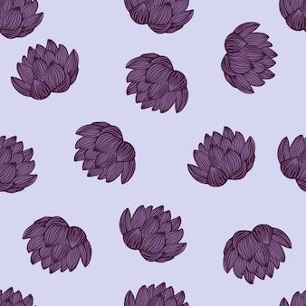 Fioletowe kwiaty lotosu wzór. doodle kwiatowy.