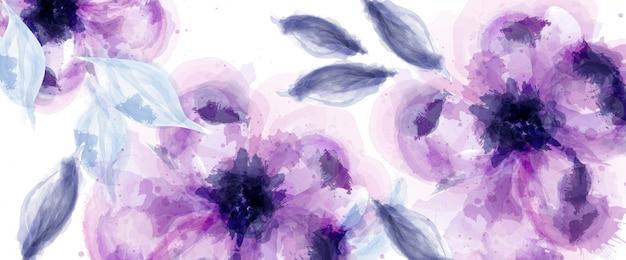 Fioletowe kwiaty tło akwarela