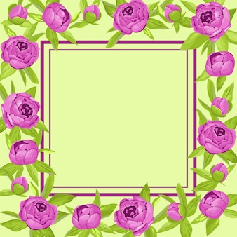 Fioletowe kwiaty vintage wokół ramki