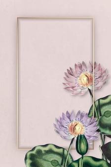 Fioletowe lilie wodne ze złotą ramą