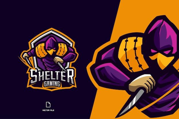 Fioletowe logo gry maskotka ninja dla szablonu projektu zespołu sportowego i esport
