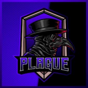 Fioletowe logo maskotki doctor plague e sport i sport