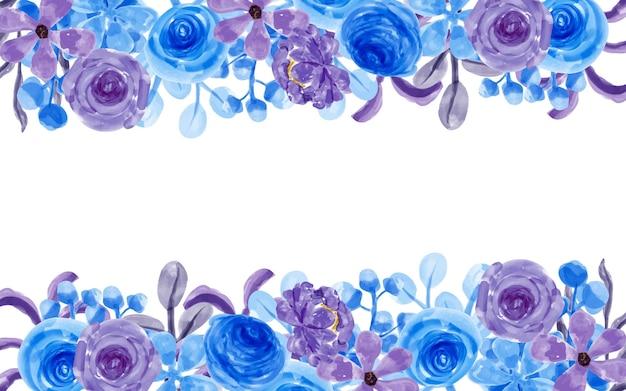 Fioletowe niebieskie tło kwiatowe z akwarelą