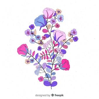 Fioletowe odcienie wiosennych kwiatów w płaskiej konstrukcji