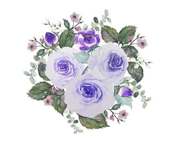 Fioletowe róże kwiat z zielonymi liśćmi bukiet akwarela ręcznie rysować dekoracji