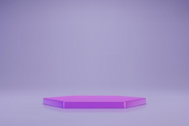 Fioletowe sześciokątne podium 3d na pastelowym fioletowym tle