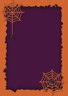 Fioletowe tło cięcia papieru i pomarańczowa ramka z wiszącą siecią niebezpiecznego i trującego pająka. straszne tło z pajęczyną na zaproszenie na halloween. ilustracja papieru