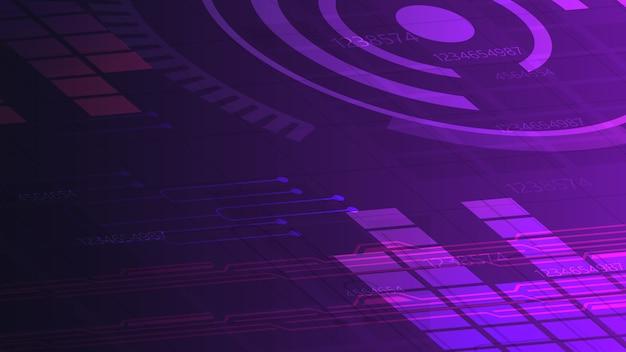 Fioletowe tło cyfrowe dla twojej kreatywności z wykresem, ścieżkami i abstrakcyjnym okręgiem