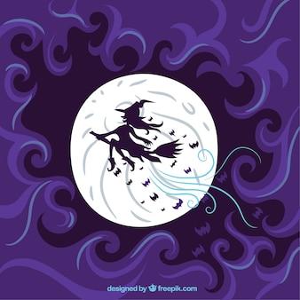Fioletowe tło czarownica i księżyc