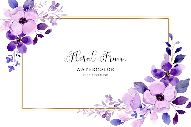 Fioletowe tło ramki kwiatowy z akwarelą