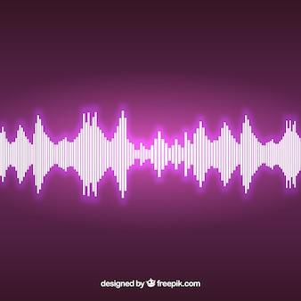 Fioletowe tło z błyszczącą fali dźwiękowej