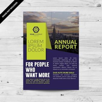 Fioletowy biznes broszura z zielonymi detalami