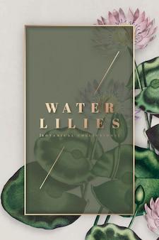 Fioletowy botaniczny wektor ramki lilii wodnych