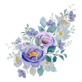 Fioletowy bukiet kwiatowy z akwarelą