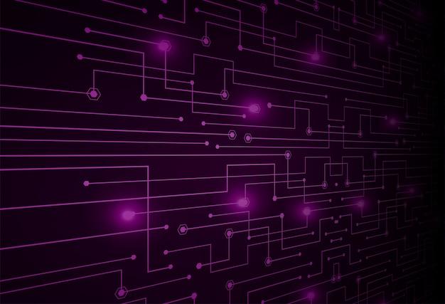 Fioletowy cyber obwodu przyszłości technologii koncepcja tło