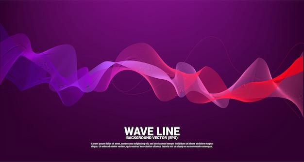 Fioletowy czerwony fali dźwiękowej krzywej linii na ciemnym tle. element dla tematu technologii futurystycznego wektoru