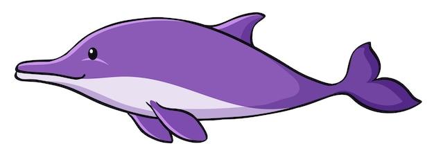 Fioletowy delfin na białym tle