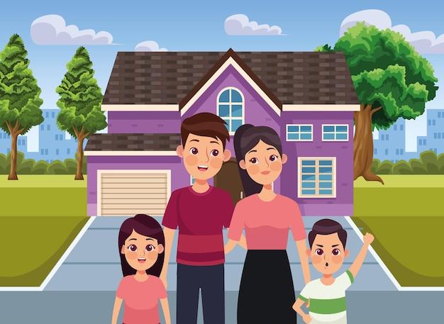 Fioletowy dom i rodzina