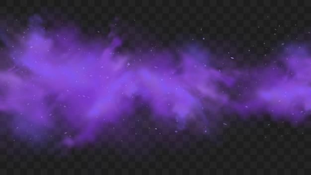 Fioletowy dym na białym tle. streszczenie fioletowa eksplozja proszku z cząstkami i brokatem. dym z fajki wodnej, trujący gaz, fioletowy pył, efekt mgły.