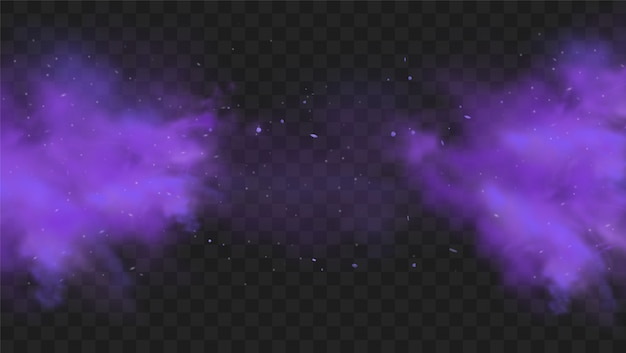 Fioletowy dym na przezroczystym ciemnym tle. streszczenie fioletowy wybuch proszku z drobinami i brokatem. dym fajki wodnej, trujący gaz, fioletowy pył, efekt mgły. realistyczna ilustracja