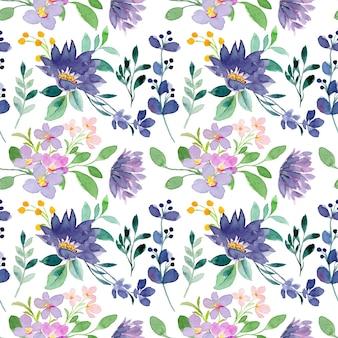 Fioletowy dziki kwiatowy wzór akwarela bezszwowe