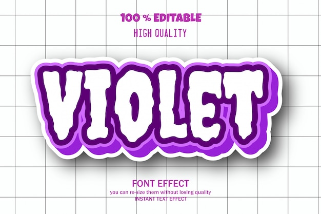 Fioletowy, edytowalny efekt czcionki
