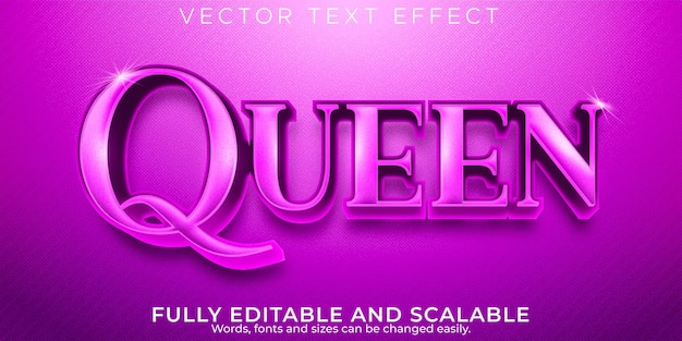 Fioletowy efekt tekstowy królowej, edytowalny, elegancki i błyszczący styl tekstu
